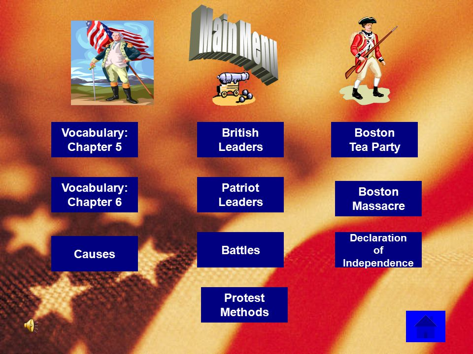 Main Menu Vocabulary: Chapter 5 British Leaders Boston Tea Party