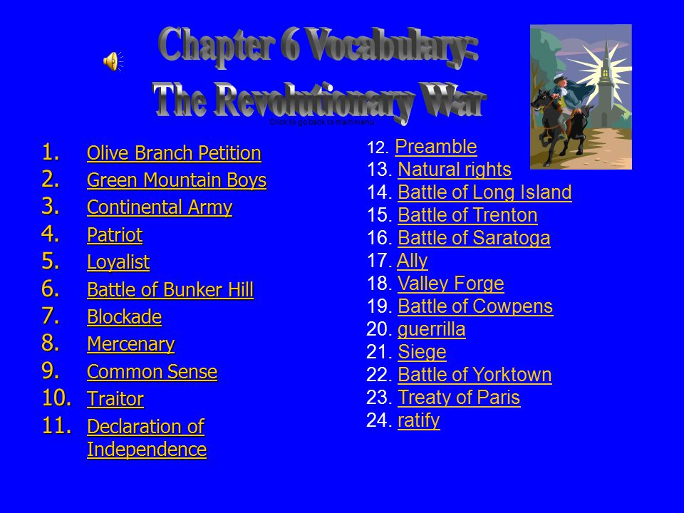 Chapter 6 Vocabulary: The Revolutionary War