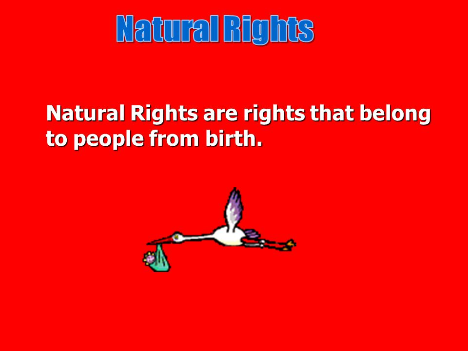 Natural Rights Natural Rights are rights that belong to people from birth.