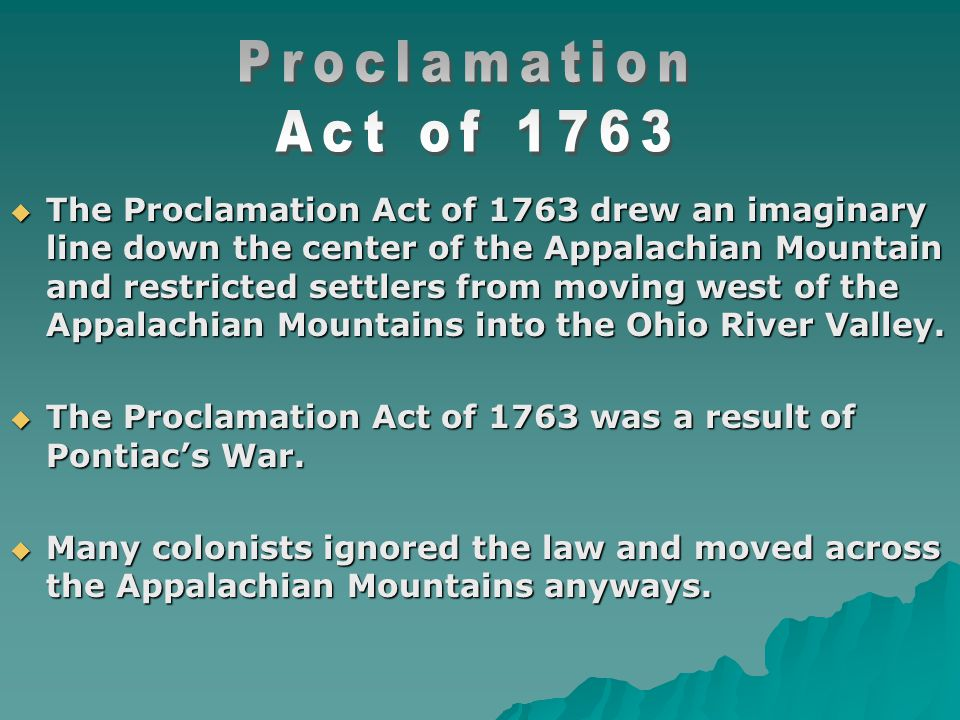 Proclamation Act of 1763.