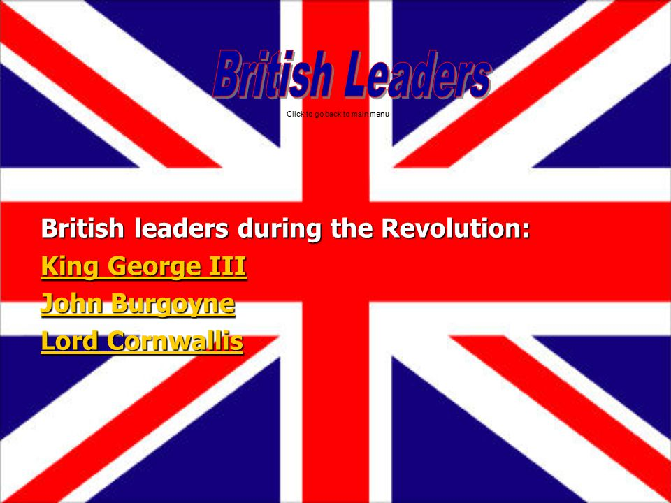 British Leaders British leaders during the Revolution: King George III