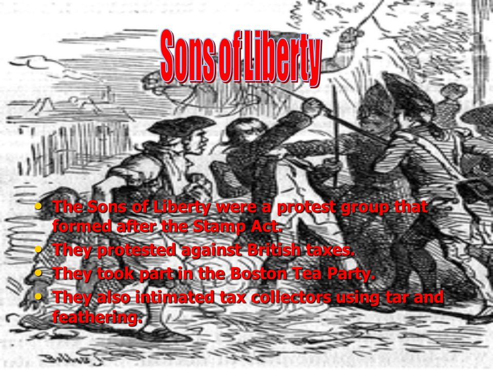 Sons of Liberty The Sons of Liberty were a protest group that formed after the Stamp Act. They protested against British taxes.