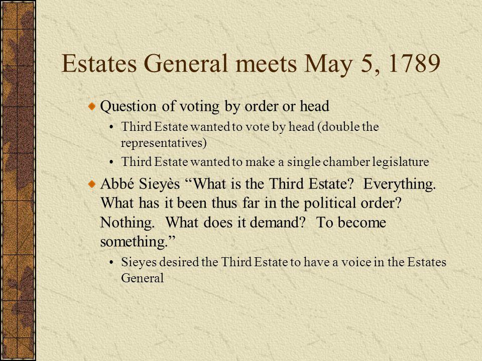 Estates General meets May 5, 1789
