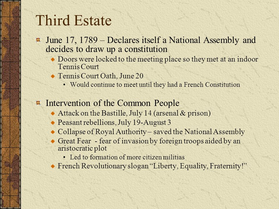Third Estate June 17, 1789 – Declares itself a National Assembly and decides to draw up a constitution.