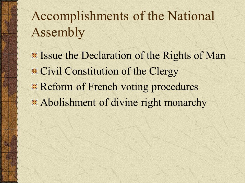 Accomplishments of the National Assembly