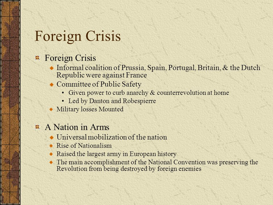 Foreign Crisis Foreign Crisis A Nation in Arms