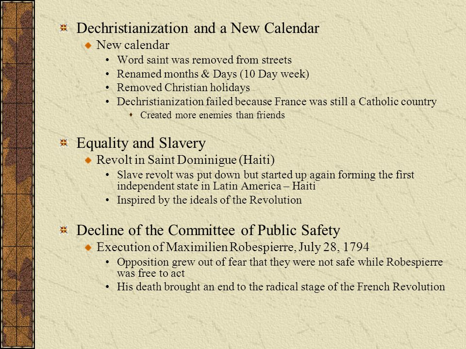 Dechristianization and a New Calendar