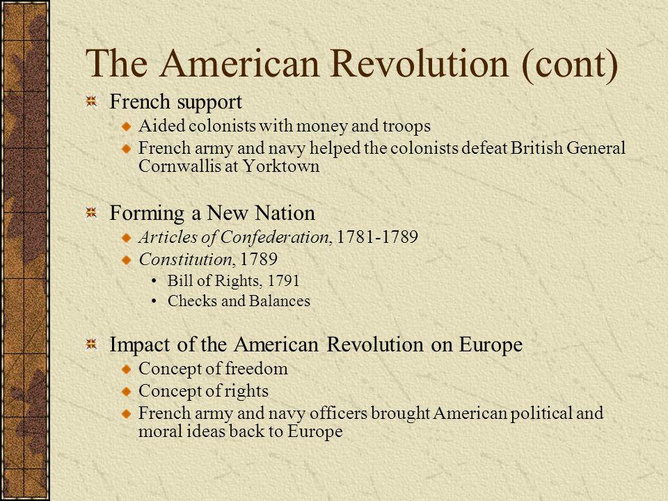 The American Revolution (cont)