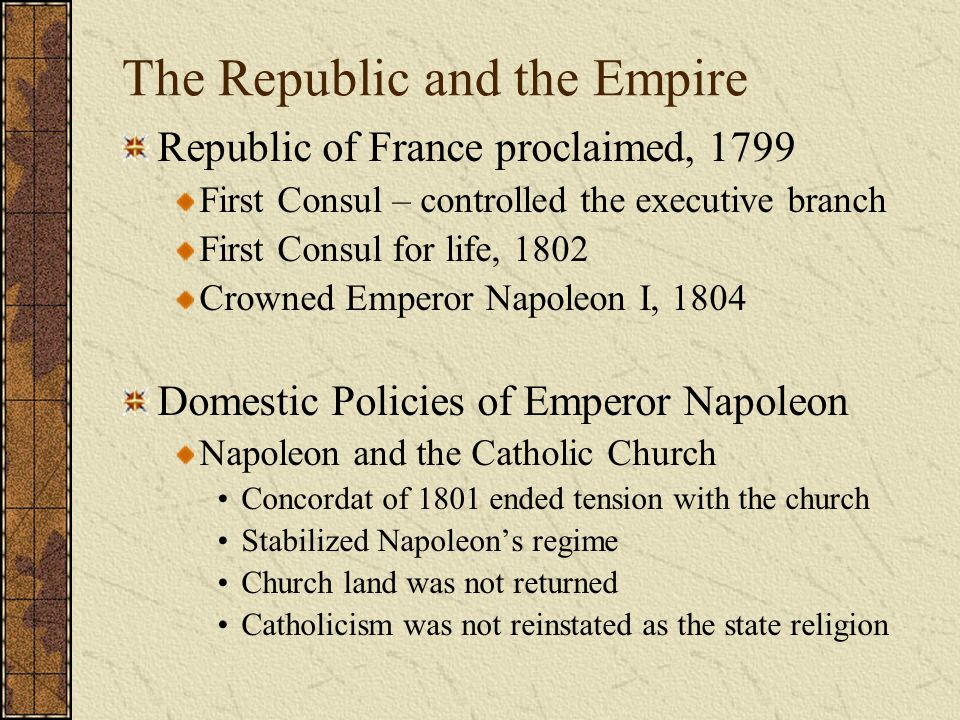 The Republic and the Empire