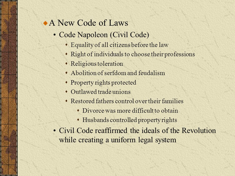 A New Code of Laws Code Napoleon (Civil Code)
