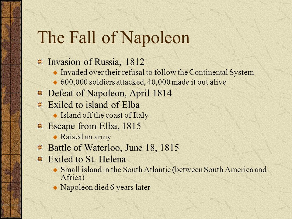 The Fall of Napoleon Invasion of Russia, 1812