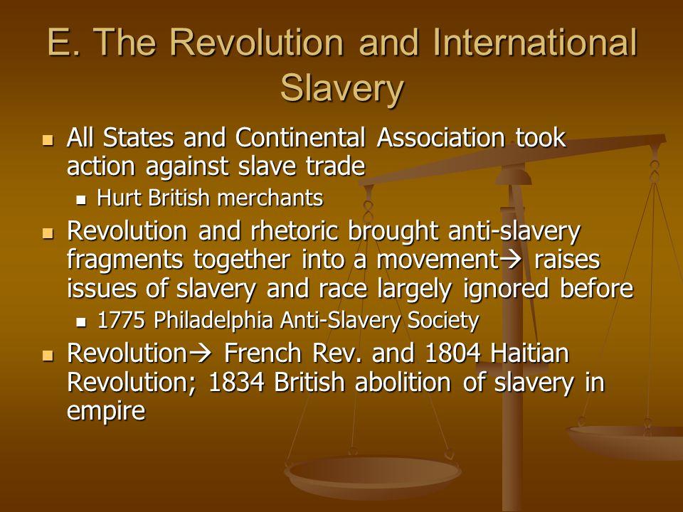 E. The Revolution and International Slavery