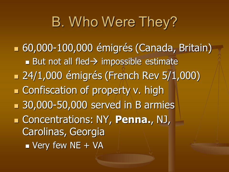 B. Who Were They 60,000-100,000 émigrés (Canada, Britain)