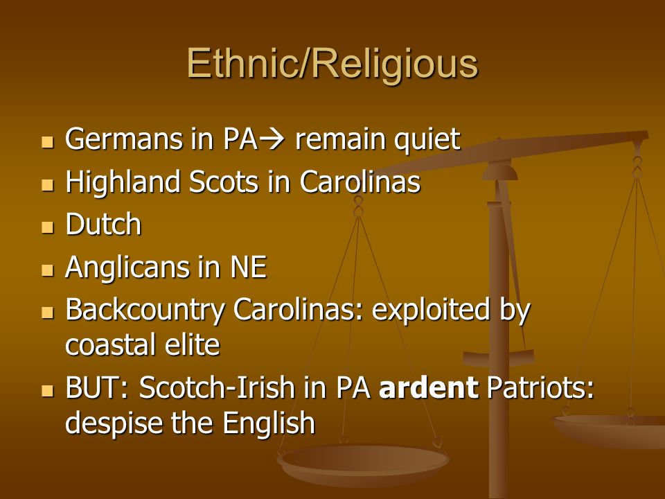 Ethnic/Religious Germans in PA remain quiet