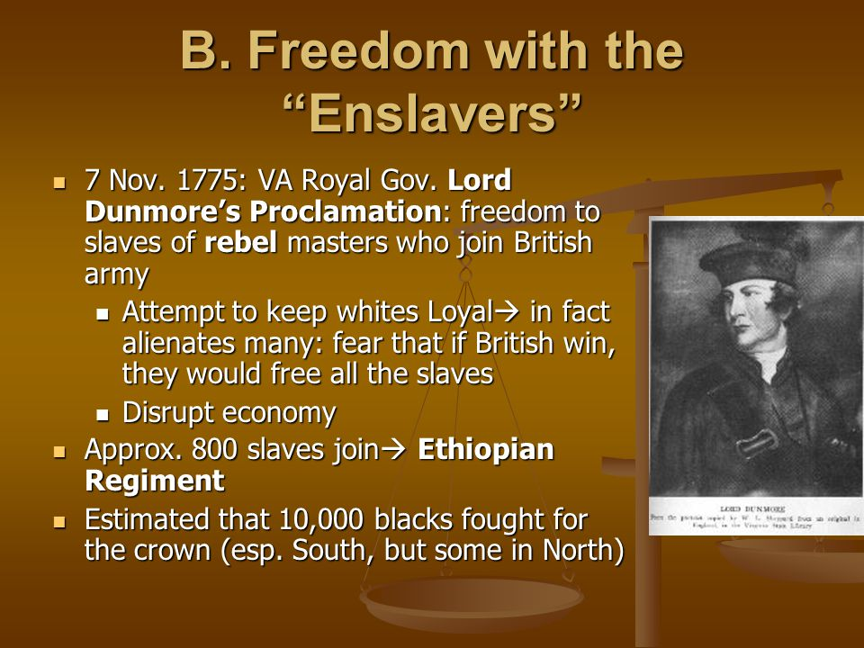B. Freedom with the Enslavers