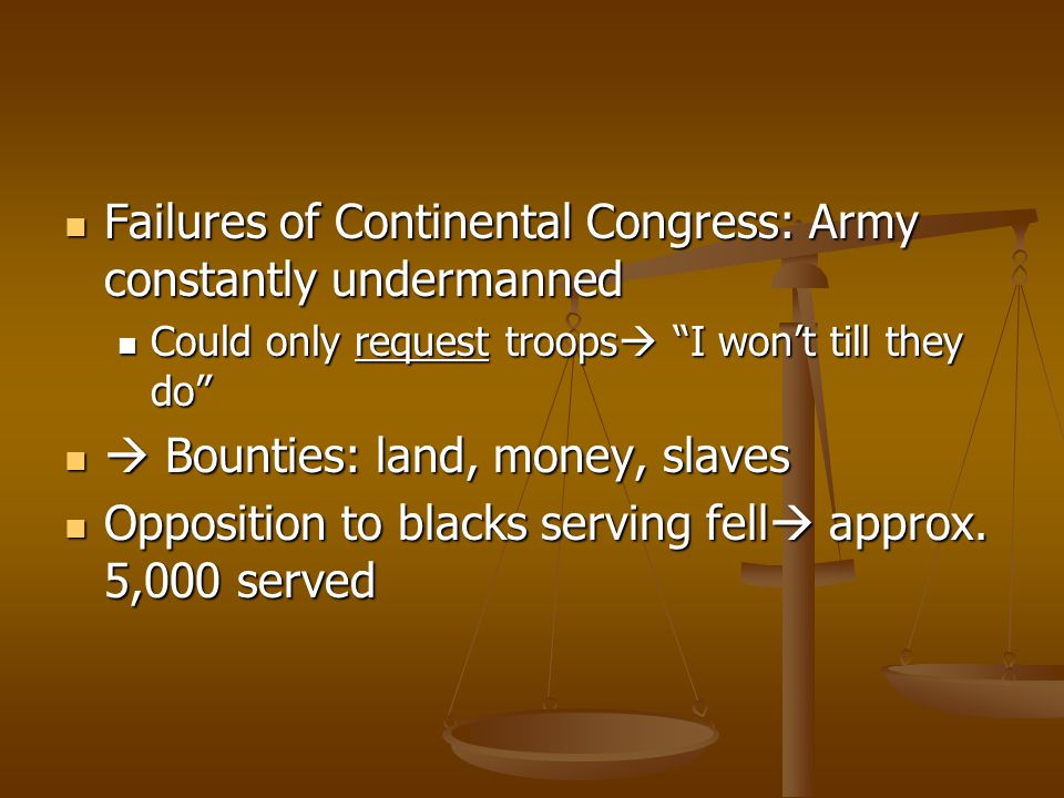 Failures of Continental Congress: Army constantly undermanned