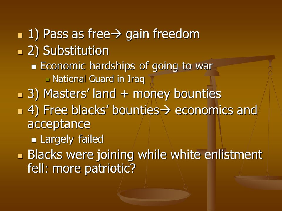 1) Pass as free gain freedom 2) Substitution