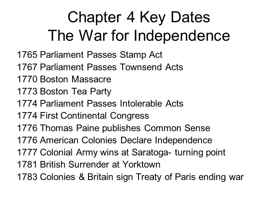 Chapter 4 Key Dates The War for Independence
