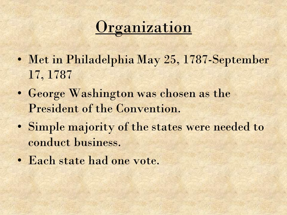 Organization Met in Philadelphia May 25, 1787-September 17, 1787