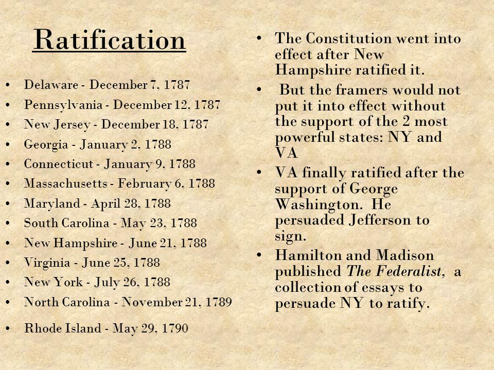 Ratification The Constitution went into effect after New Hampshire ratified it.