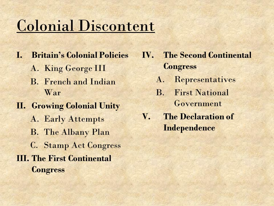 Colonial Discontent Britain's Colonial Policies King George III