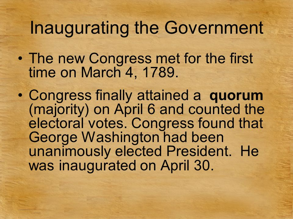 Inaugurating the Government