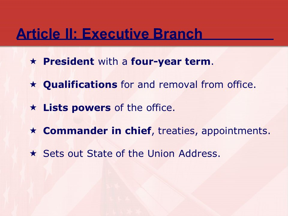 Article II: Executive Branch