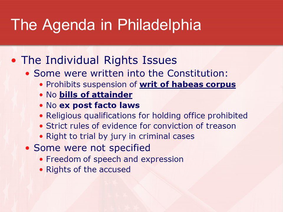 The Agenda in Philadelphia