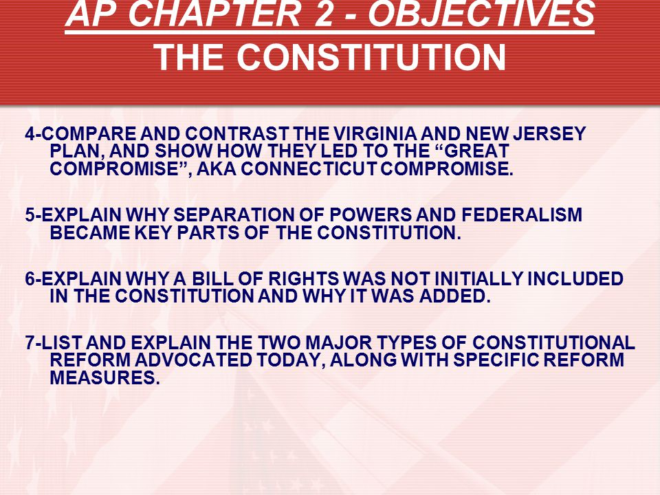 AP CHAPTER 2 - OBJECTIVES THE CONSTITUTION