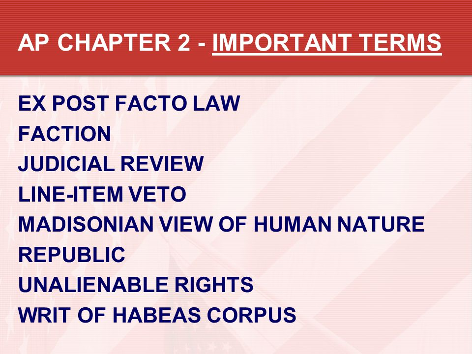 AP CHAPTER 2 - IMPORTANT TERMS
