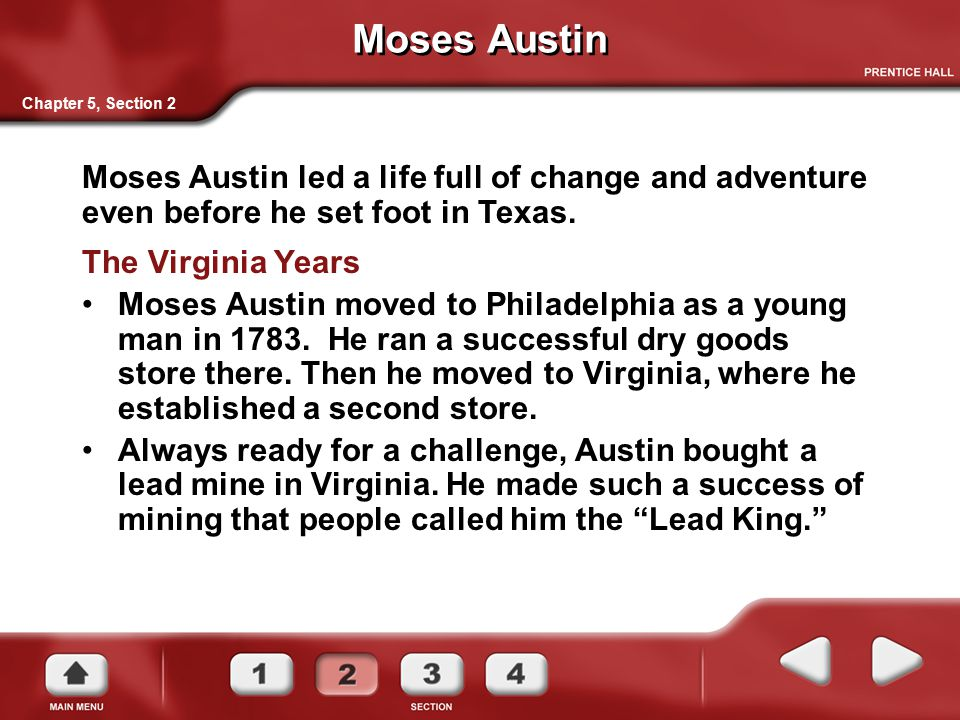 Moses Austin Chapter 5, Section 2. The Virginia Years.