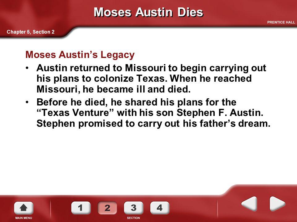 Moses Austin Dies Moses Austin's Legacy