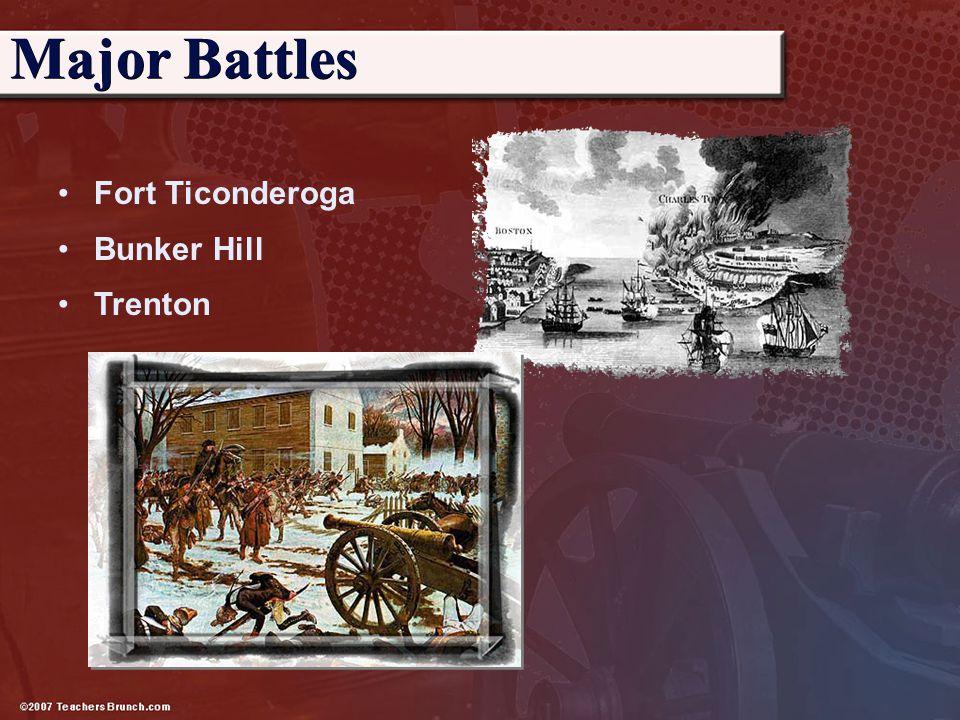 Major Battles Fort Ticonderoga Bunker Hill Trenton