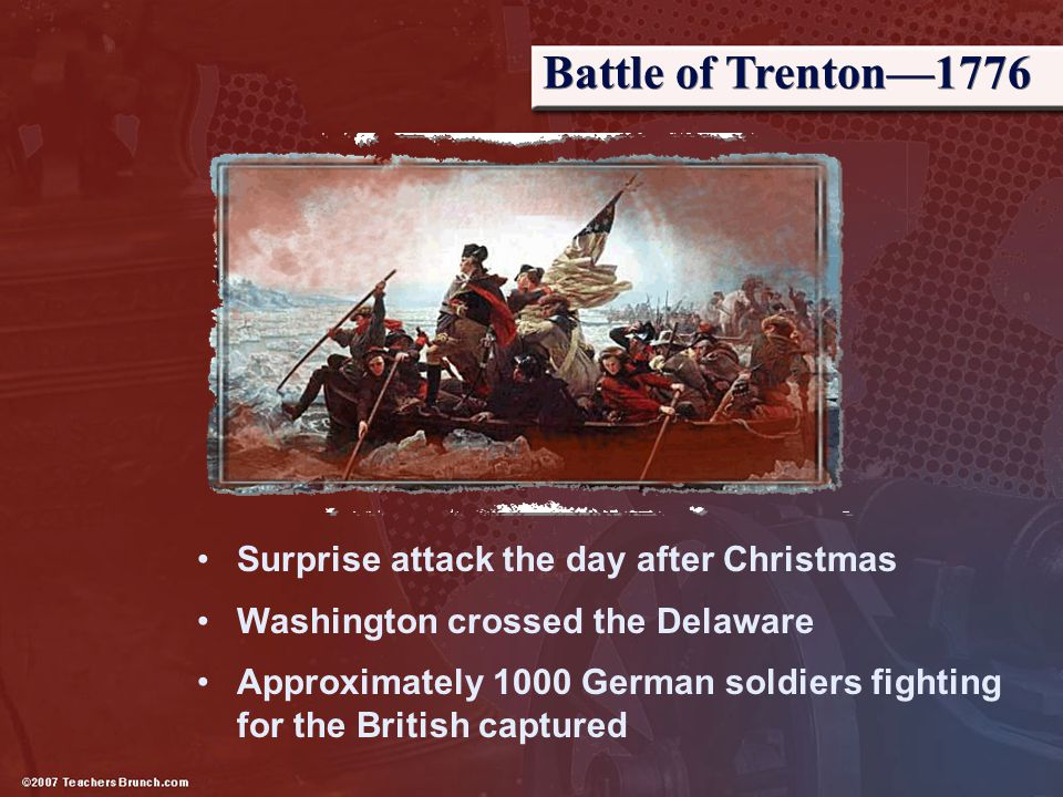 Battle of Trenton—1776 Surprise attack the day after Christmas