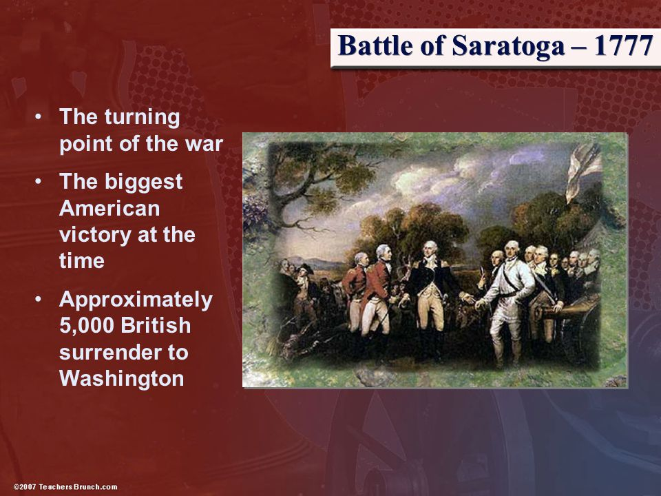 Battle of Saratoga – 1777 The turning point of the war