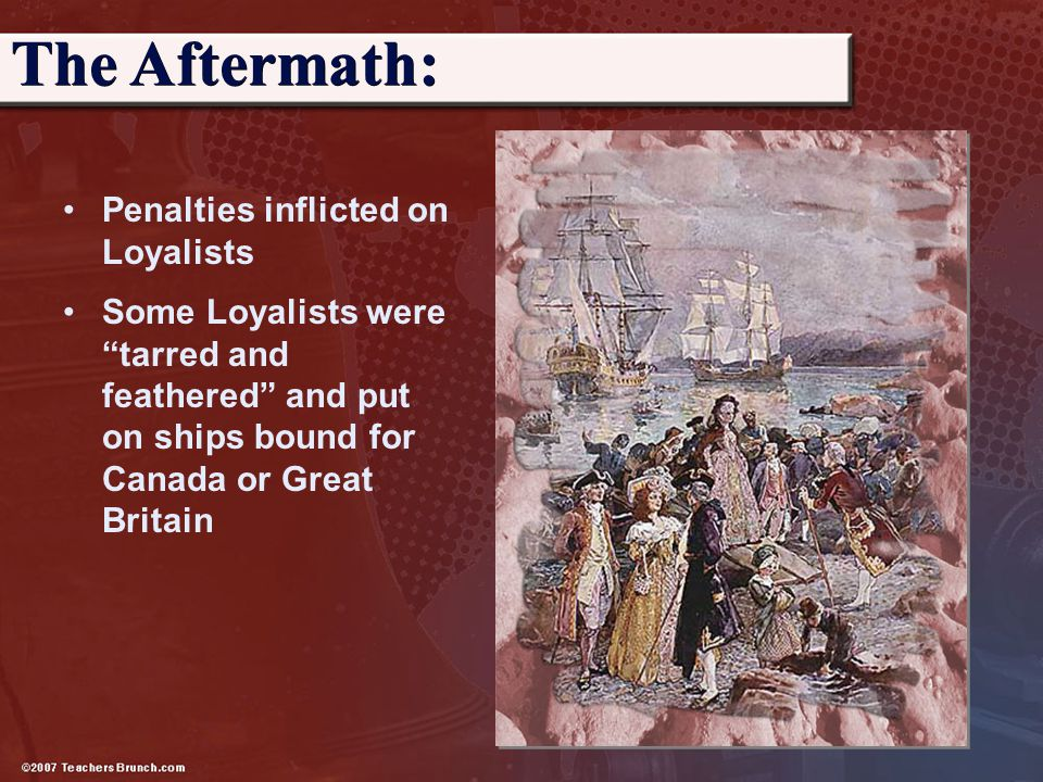 The Aftermath: Penalties inflicted on Loyalists