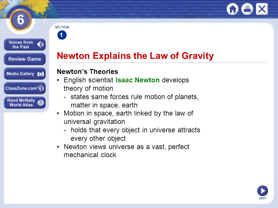 Newton Explains the Law of Gravity