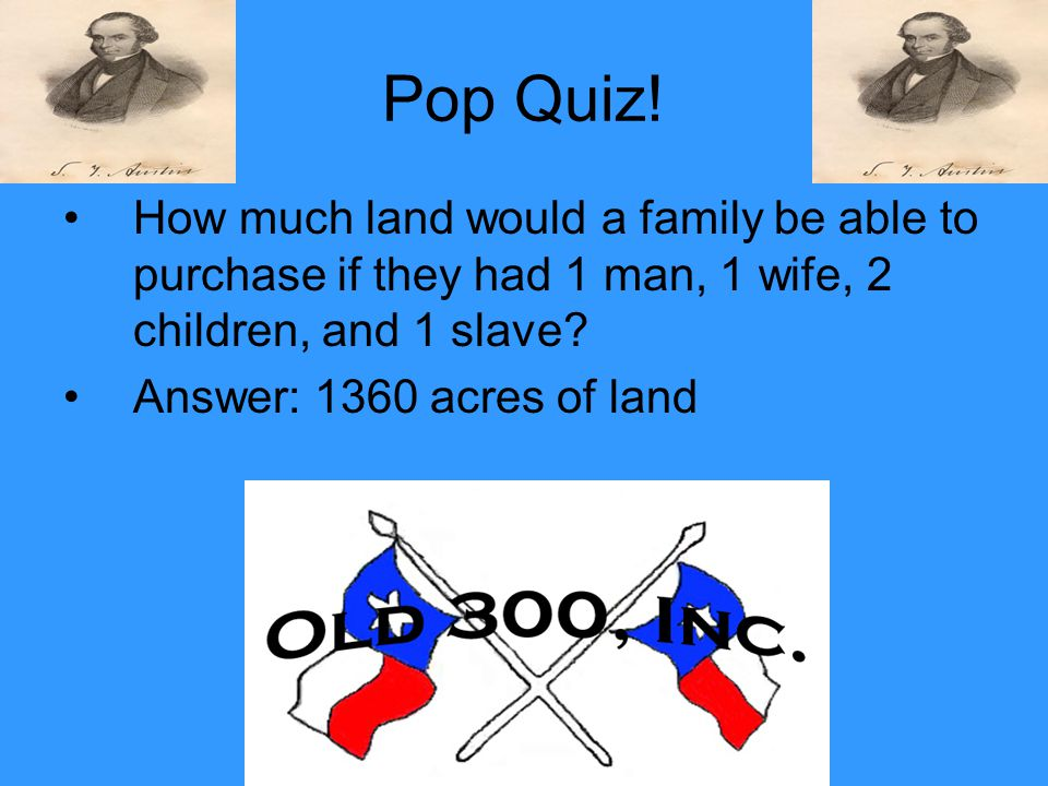 Pop Quiz! How much land would a family be able to purchase if they had 1 man, 1 wife, 2 children, and 1 slave