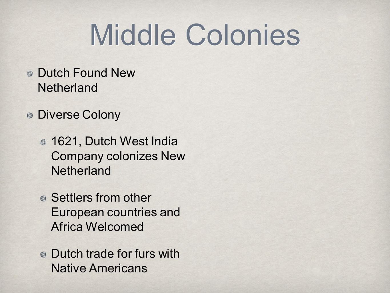 Middle Colonies Dutch Found New Netherland Diverse Colony
