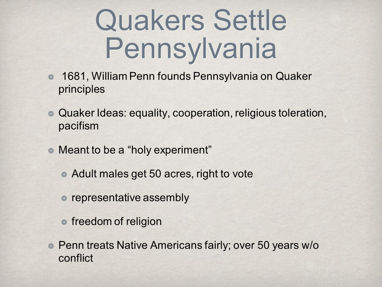 Quakers Settle Pennsylvania