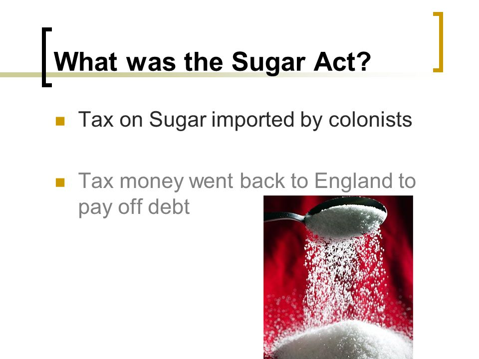 What was the Sugar Act Tax on Sugar imported by colonists