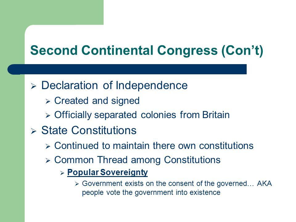 Second Continental Congress (Con't)