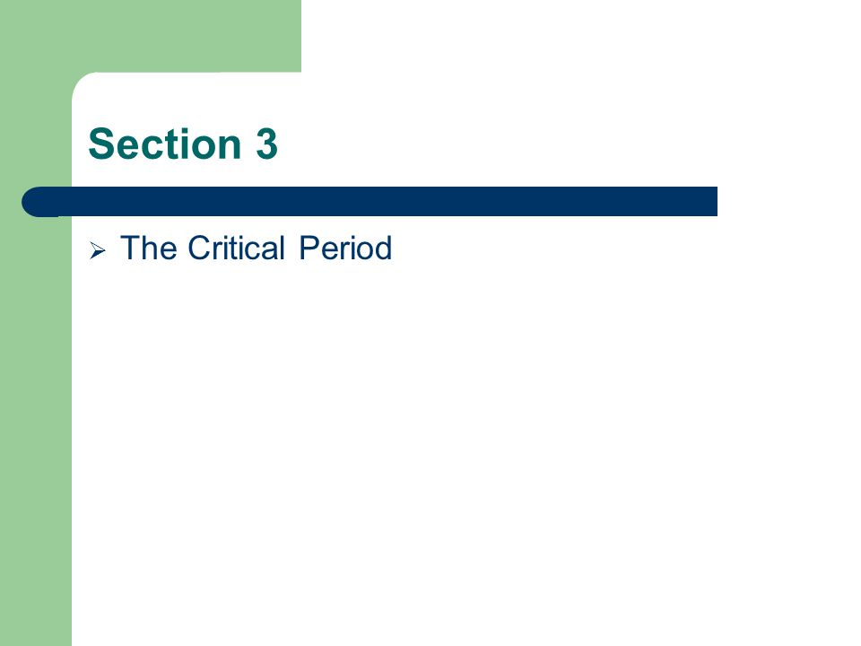 Section 3 The Critical Period