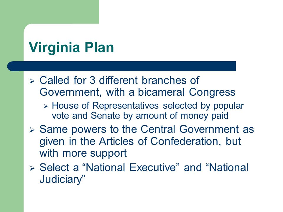 Virginia Plan Called for 3 different branches of Government, with a bicameral Congress.