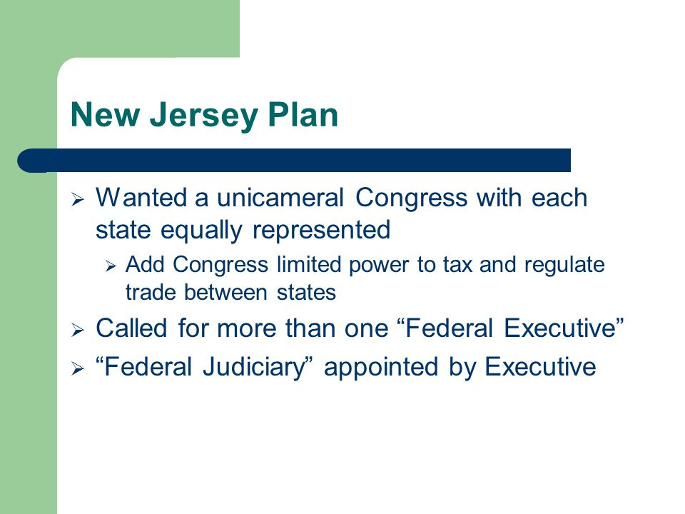 New Jersey Plan Wanted a unicameral Congress with each state equally represented.