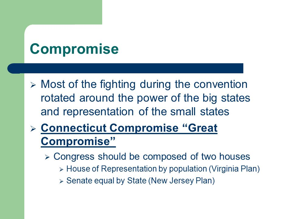 Compromise Most of the fighting during the convention rotated around the power of the big states and representation of the small states.