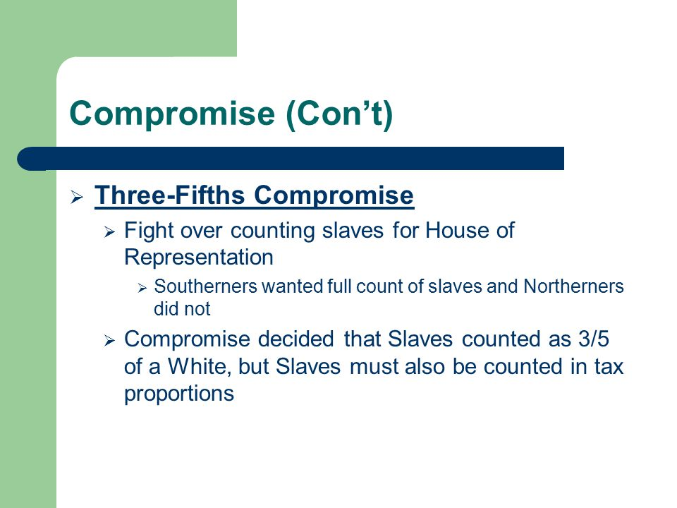 Compromise (Con't) Three-Fifths Compromise
