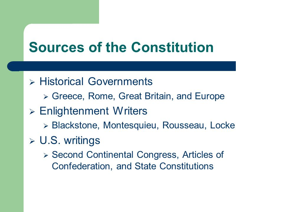 Sources of the Constitution