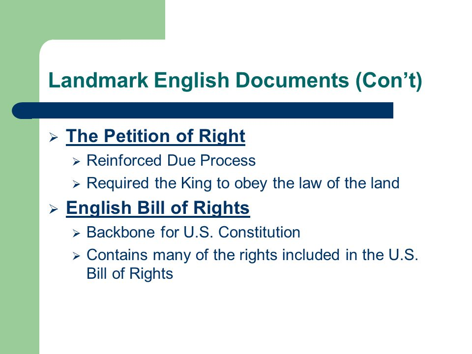 Landmark English Documents (Con't)