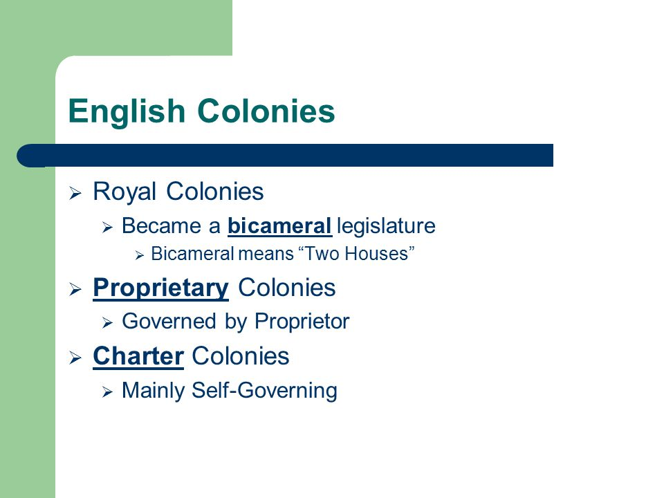 English Colonies Royal Colonies Proprietary Colonies Charter Colonies
